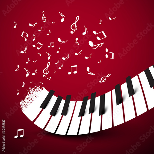 klaviertasten-tastatur-mit-notizen-musiksymbol-vektor-illustration-auf-dunkelrotem-hintergrund