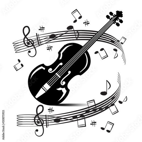 noten-und-noten-mit-violine-vektor-musik-illustration-schwarze-gegenstande-getrennt-auf-weisem-hintergrund