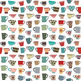 Coffee cups and mugs in various shapes and colors seamless pattern background 1 - 130880107