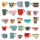 Coffee cups and mugs in various shapes and colors - 130880125