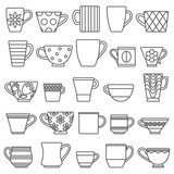 Coffee cups and mugs outline icons - 130880146