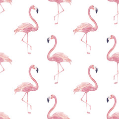 Watercolor seamless pattern with exotic flamingo. Summer decoration print