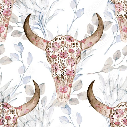 Watercolor seamless pattern with skull, peony, protea. Decoration exotic ethnic print - 130880326