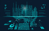Fototapety abstract technology background; digital building in a matrix style; technological city combined with electronic board