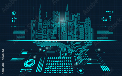 abstract technology background; digital building in a matrix style; technological city combined with electronic board - 130883385