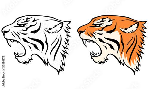 proste ilustracje linii tygrysa głowy z widoku profilu
