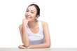 Happy attractive beautiful asian woman smiling isolated on white background. Image with clipping path.