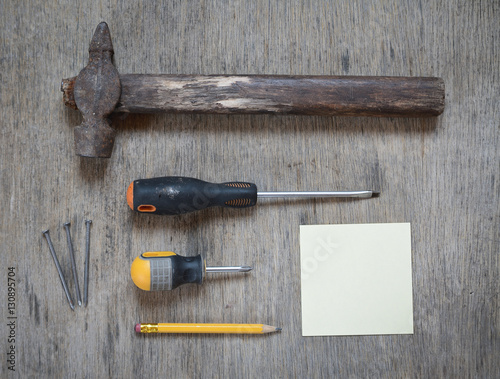 Poster industrial worker abstract: old hummer, screwdriver, pencil and blank