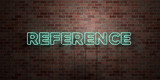 REFERENCE - fluorescent Neon tube Sign on brickwork - Front view - 3D rendered royalty free stock picture. Can be used for online banner ads and direct mailers..
