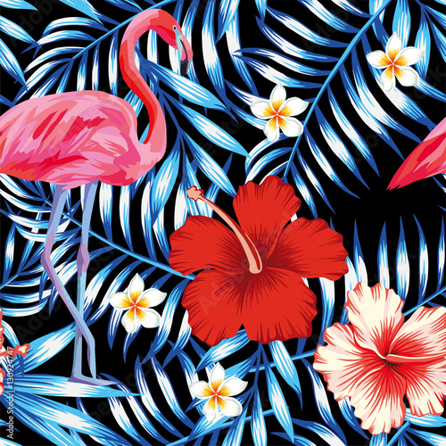 Cotton fabric hibiscus flamingo plumeria palm leaves blue pattern