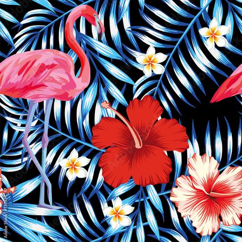 Stoffe zum Nähen Hibiskus Palmblätter Flamingo Plumeria blaues Muster