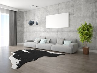 Mock up of modern living room with a large comfortable sofa on hipster background.