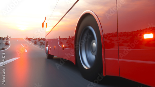 Fotobehang Rood paars touristic red bus on highway. Fast driving. realistic 3d rendering.