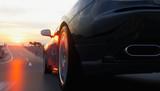 Samochód sportowy czarny na drodze, autostrada. Bardzo szybka jazda. Renderowania 3d.