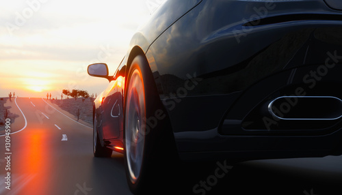 Black sport car on road, highway. Very fast driving. 3d rendering. - 130945900