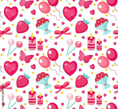Cotton fabric Cute seamless pattern Valentines day with strawberries, heart, flower, butterfly, ribbon. Love, romance endless background, texture, wallpaper Flat cartoon style Vector illustration