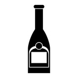 silhouette bottle champagne plastic cork outline vector illustration eps 10