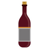 red wine bottle with cork empty label vector illustration eps 10