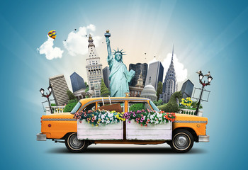 USA, classic yellow Тew York taxi and landmarks