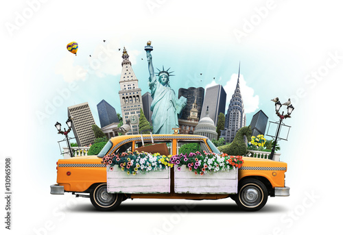 Foto Murales USA, classic yellow Тew York taxi and landmarks