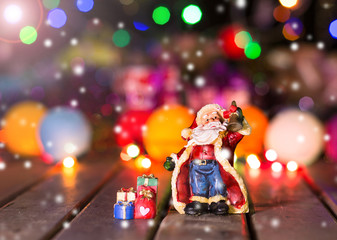 Santa Claus with blur background on Christmas and New year night