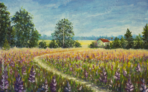 Plakat Original oil painting Track in the field leading to the house on canvas. Modern Impressionism Art. Artwork.