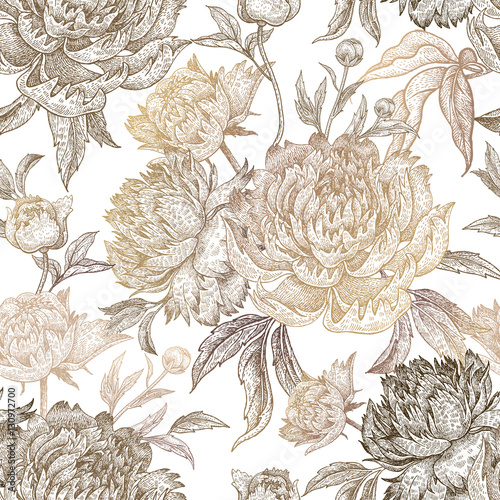 Seamless pattern with peony flowers. - 130972700
