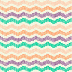 Abstract zig zag seamless pattern with hand drawn texture