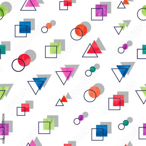 Seamless geometric pattern. Vector background with watercolor geometric shapes.