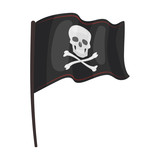 Pirate flag icon in cartoon style isolated on white background. Pirates symbol stock vector illustration.