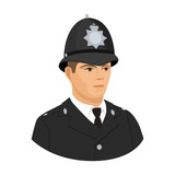 English policeman icon in cartoon style isolated on white background. England country symbol stock vector illustration.