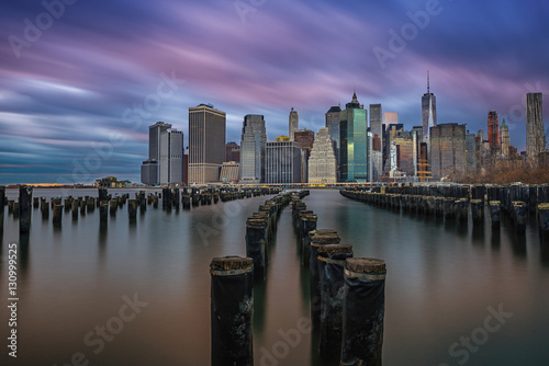 The Brooklyn sticks during a cloudy long exposure sunset Poster