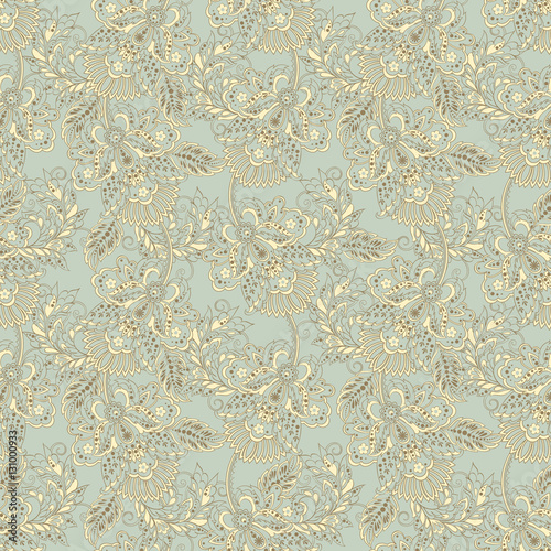 folkloric flowers seamless pattern. ethnic floral vector ornament - 131000933