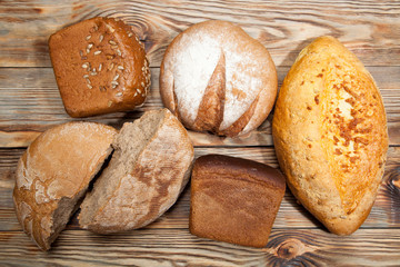Bread on a rustic wooden background