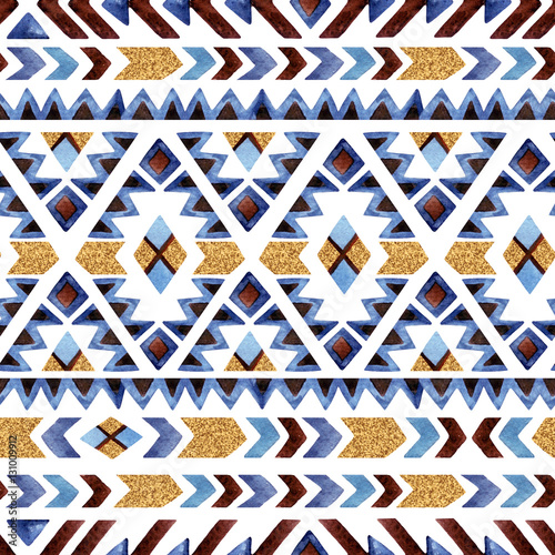 Watercolor ethnic seamless pattern. Geometric ornament. - 131009912