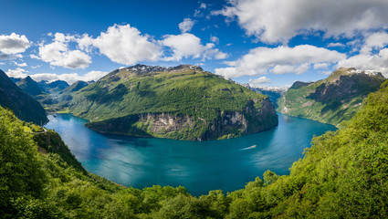 Aerial panorama of Geiranger fjord