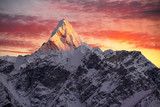 Ama Dablam peak (6856 m) at sunset. Nepal, Himalayas.