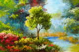 Fototapety oil painting, flowers and trees near the river, sunset