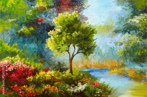 Fototapeta oil painting, flowers and trees near the river, sunset