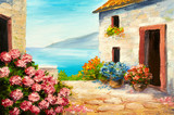 Fototapeta oil painting, house near the sea, sea coast, colorful flowers, summer seascape