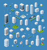 Fototapety Isometric set 3D city three-dimensional town quarter. Skyscrapers, apartment, office, houses and streets with urban traffic movement of the car with trees and nature