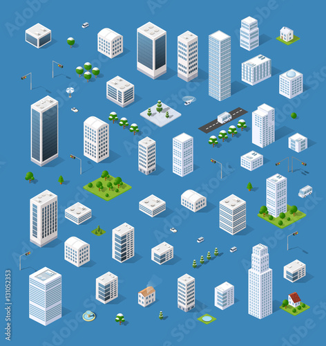 Isometric set 3D city three-dimensional town quarter. Skyscrapers, apartment, office, houses and streets with urban traffic movement of the car with trees and nature