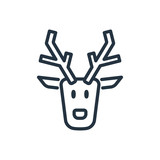 christmas santa reindeer line web icon on white background