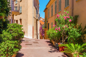 picturesque alley in the old town of Cannes