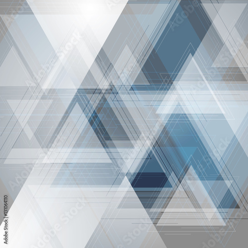Fototapeta Blue and grey tech triangles background