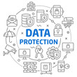 Vector circle lines illustration icons data protection