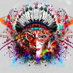 девушка с лицом тигра