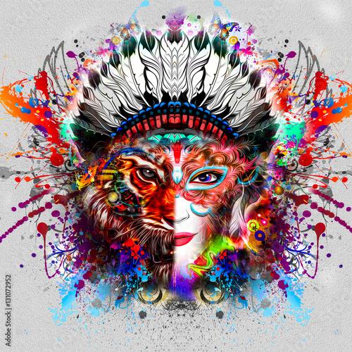 девушка с лицом тигра - 131072952