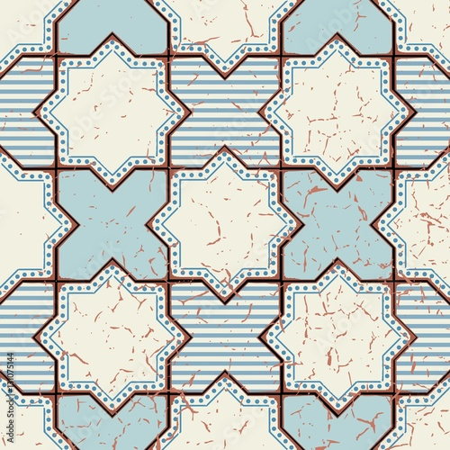 Vector Oriental seamless pattern. Realistic Vintage Moroccan, Portuguese octagonal tiles. Effect of decorative aging can be removed - 131075144