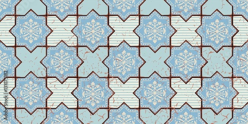Vector Oriental seamless pattern. Realistic Vintage Moroccan, Portuguese octagonal tiles. Effect of decorative aging can be removed - 131075182
